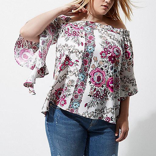 Plus pink floral print frill bardot top