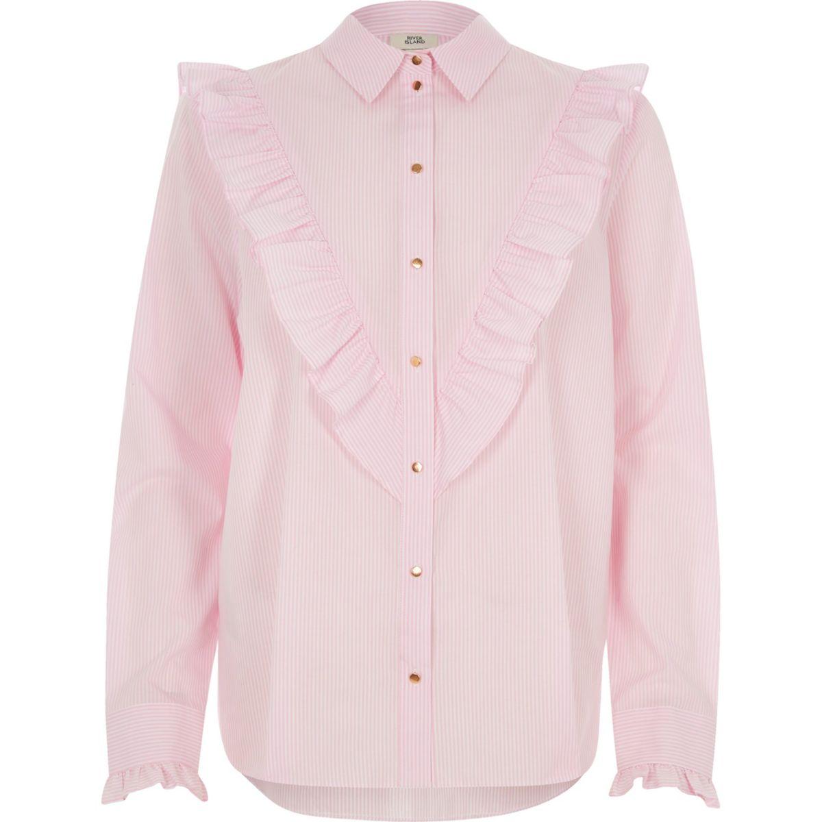 Pink stripe frill bib shirt