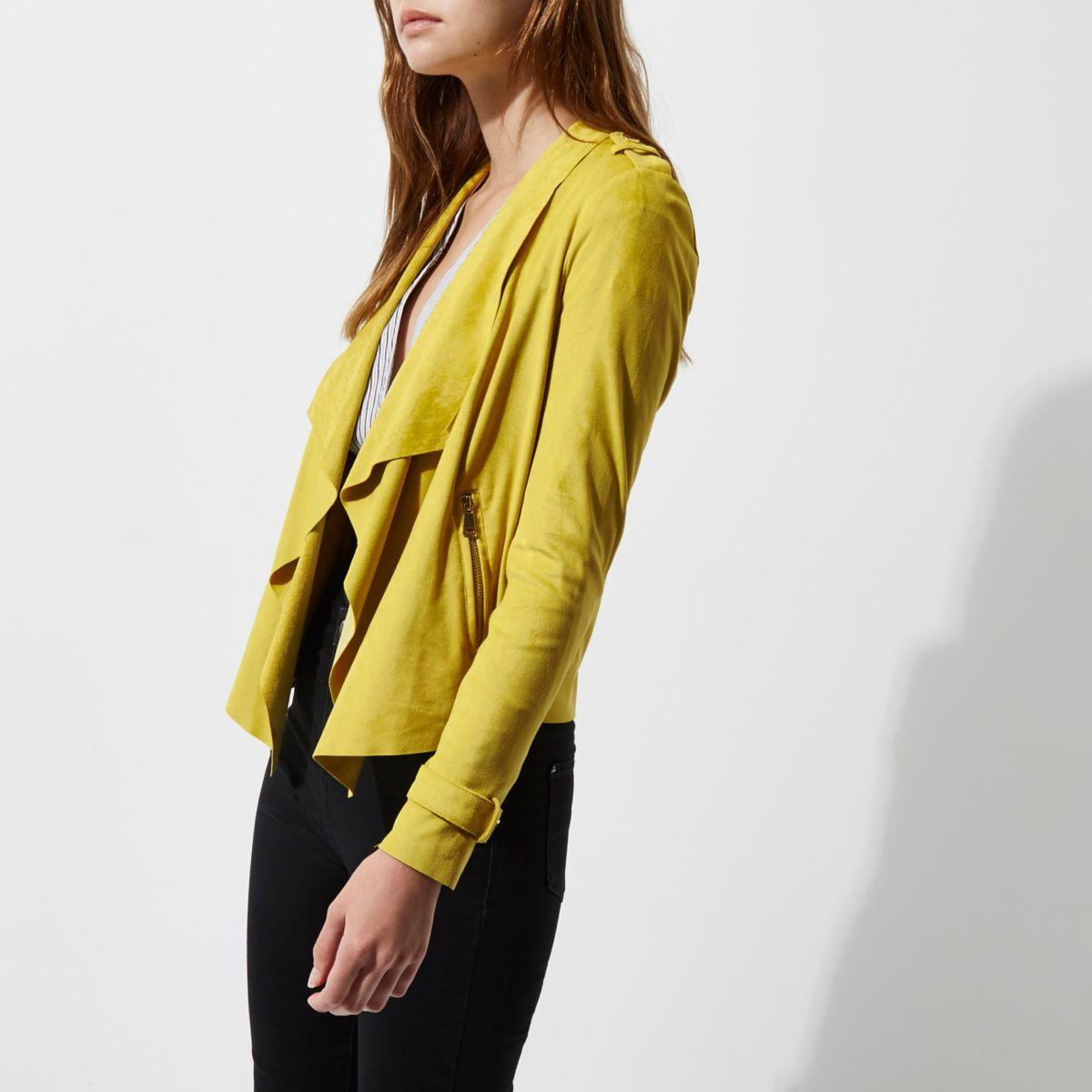 Yellow faux suede fallaway jacket
