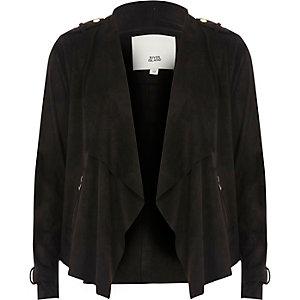 Zwarte gedrapeerde jas van imitatiesuède