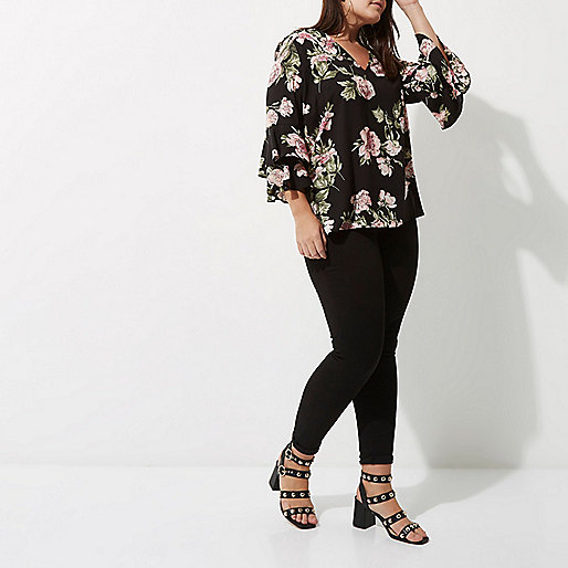 Plus black floral double frill sleeve top