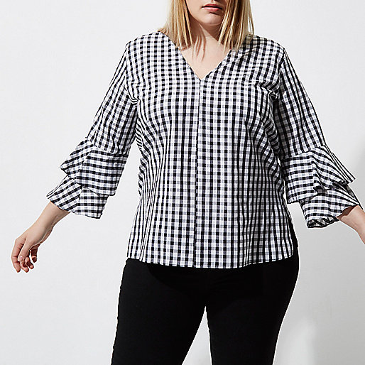 Plus black gingham double bell sleeve top