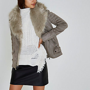 Grey faux fur trim aviator jacket