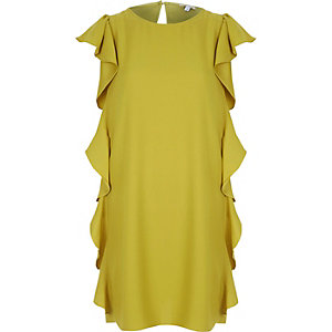 Dark yellow side frill swing dress