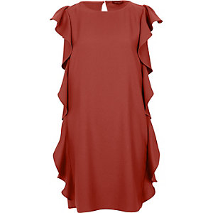Brown side frill swing dress