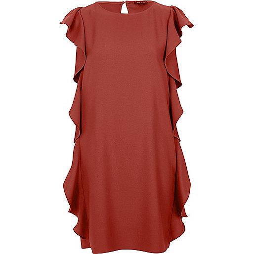 Brown side frill swing dress