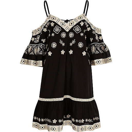 Black and cream embroidered swing dress