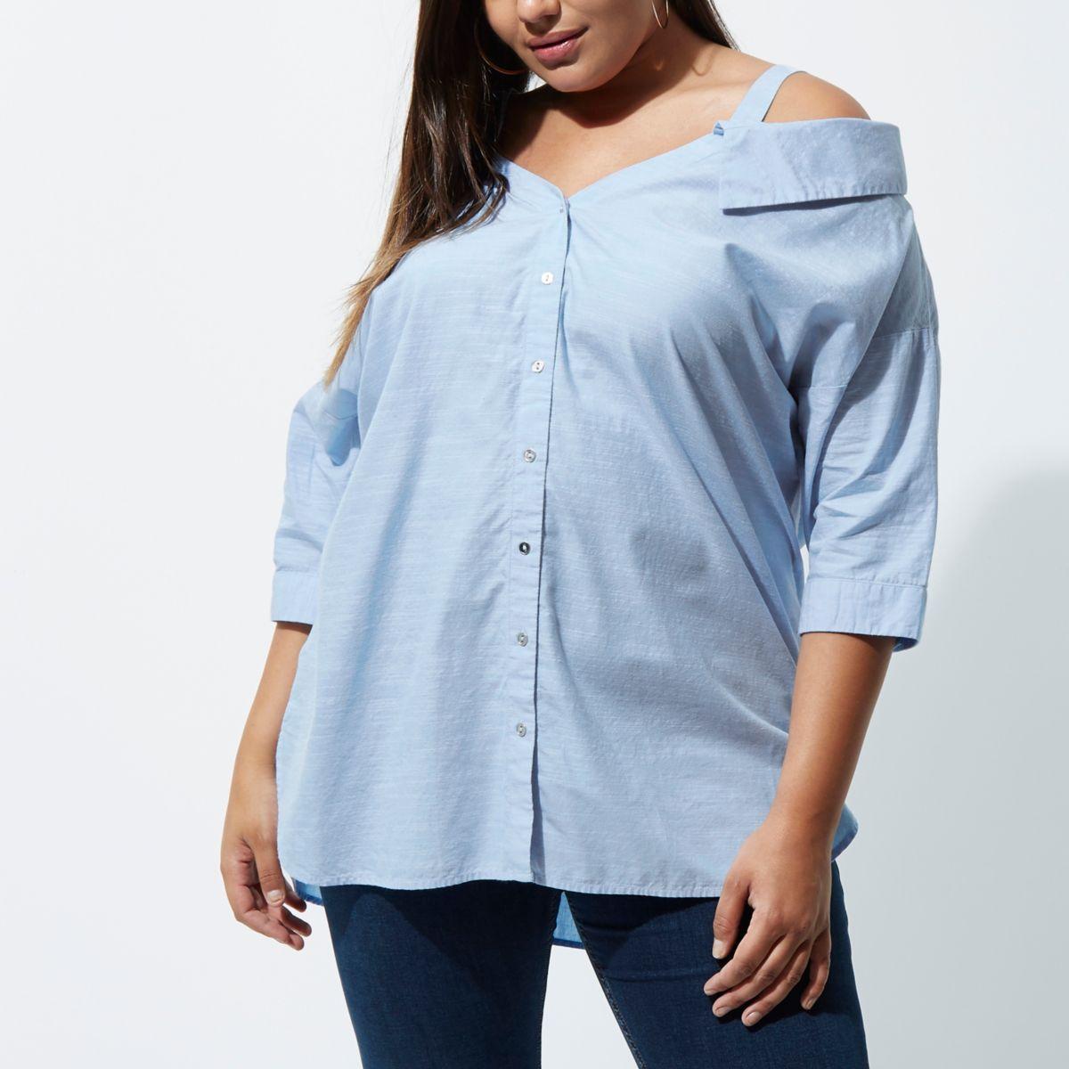 Plus blue cold shoulder shirt