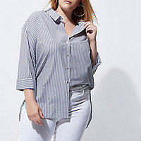 Plus white stripe rolled sleeve shirt