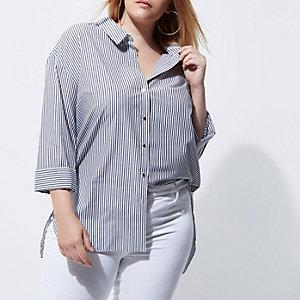 Plus – Weißes, gestreiftes Hemd mit Rollärmeln