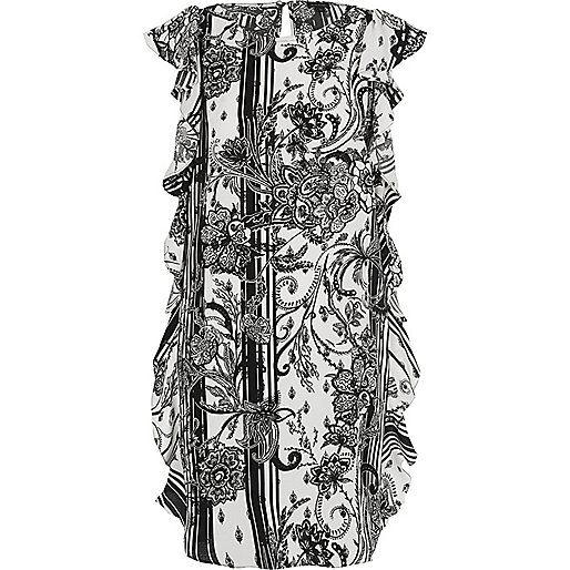 Black floral side frill swing dress
