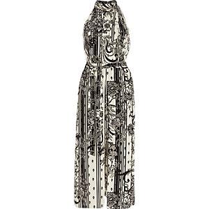 Robe mi-longue à fleurs mono blanche col montant