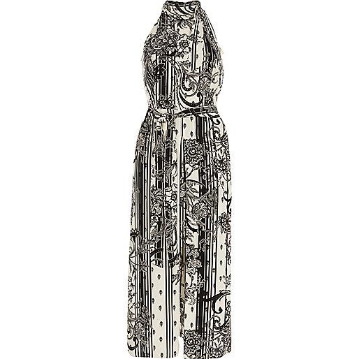 White mono floral high neck midi dress