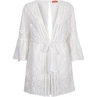 White embroidered flare sleeve beach caftan