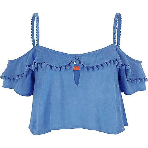 Blue pom pom frill cold shoulder crop top