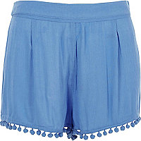 Blue pom pom trim shorts