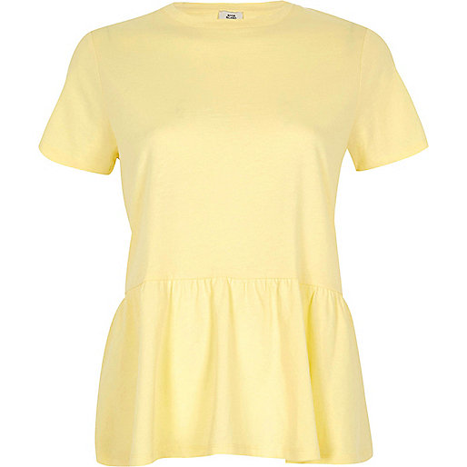 Yellow peplum hem T-shirt