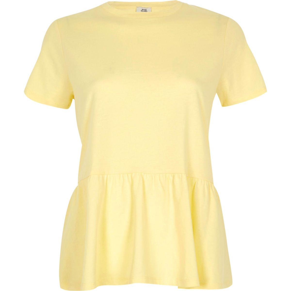 Yellow peplum hem T-shirt