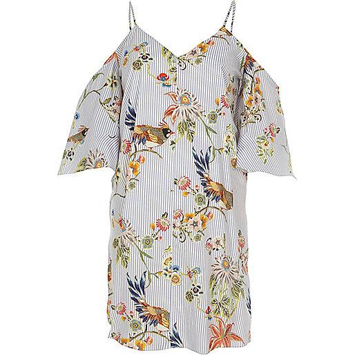 Blue floral print cold shoulder swing dress