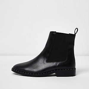 Black leather studded chelsea boots