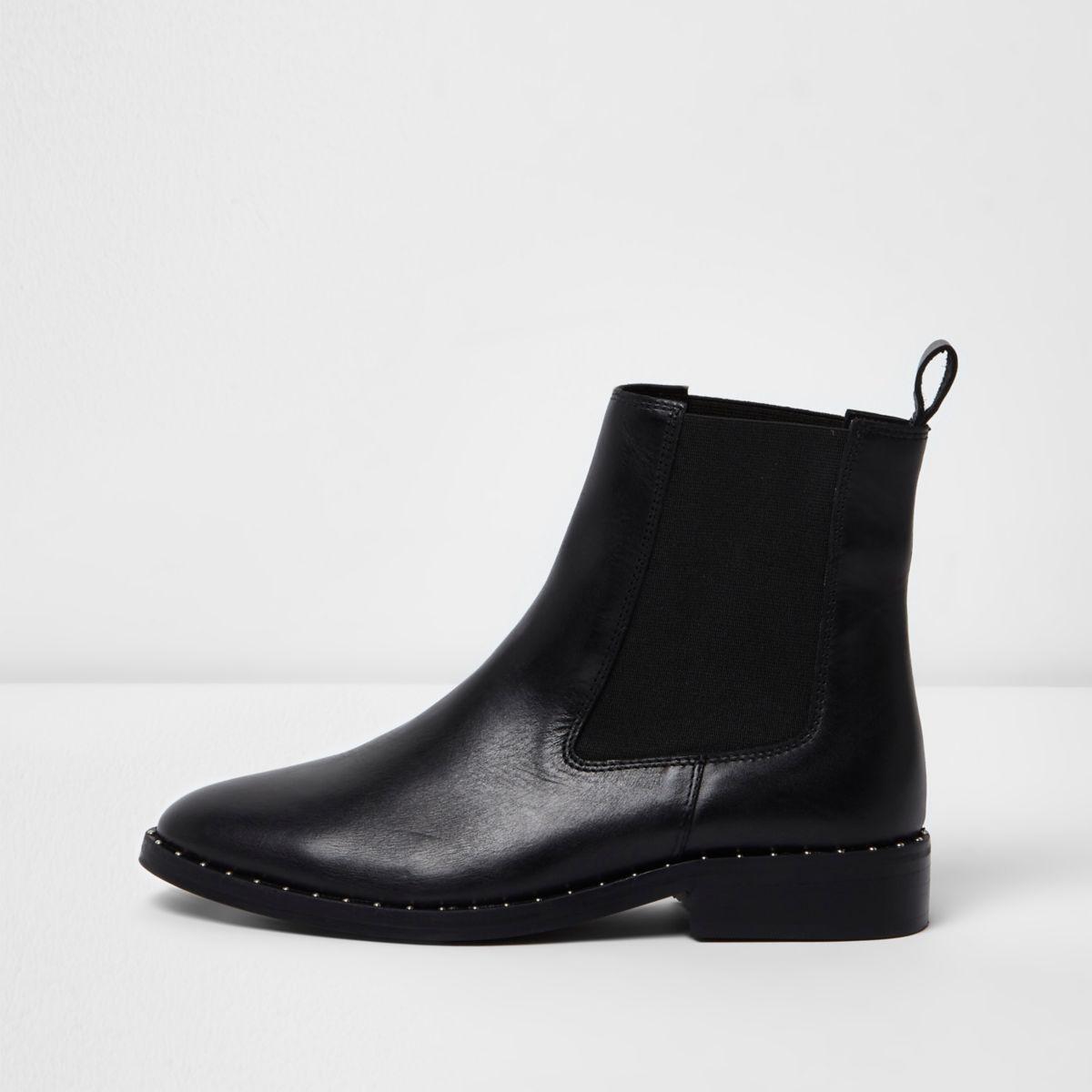 Schwarze Chelsea-Stiefel aus Leder mit Nieten