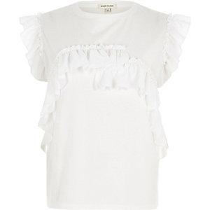 T-shirt ajusté blanc à volants
