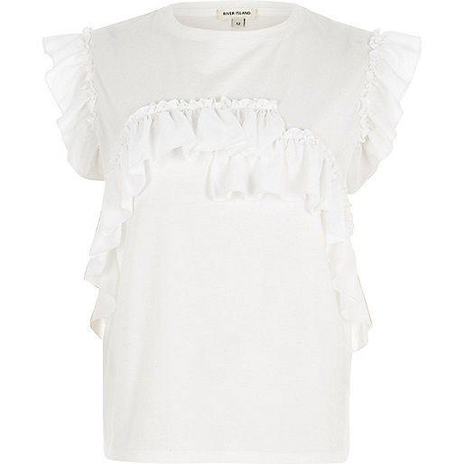 White frill fitted T-shirt