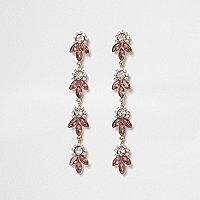 Rose gold tone diamante leaf drop earrings