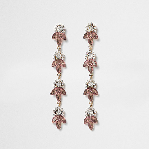 Rose gold tone rhinestone leaf drop earrings