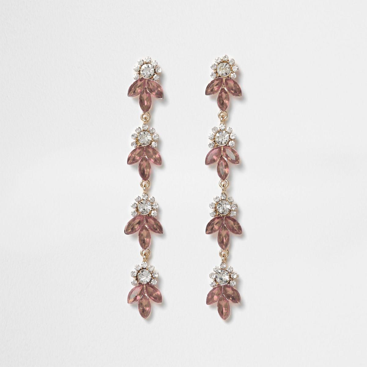Rose gold tone rhinestone leaf drop earrings