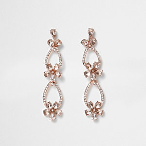 Rose gold tone pave flower dangle earrings