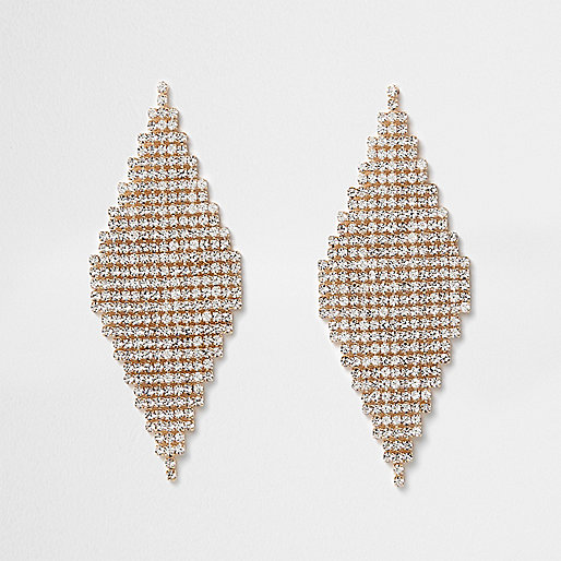 Gold tone diamond pave drop earrings