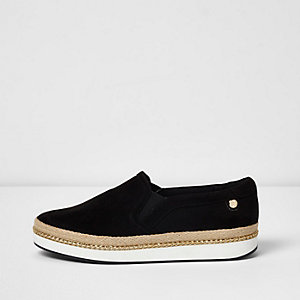 Black espadrille wide fit slip on plimsolls