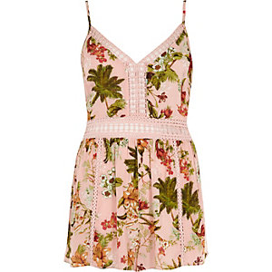 Pink floral ladder lace cami beach playsuit