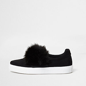 Black fluffy slip on plimsolls