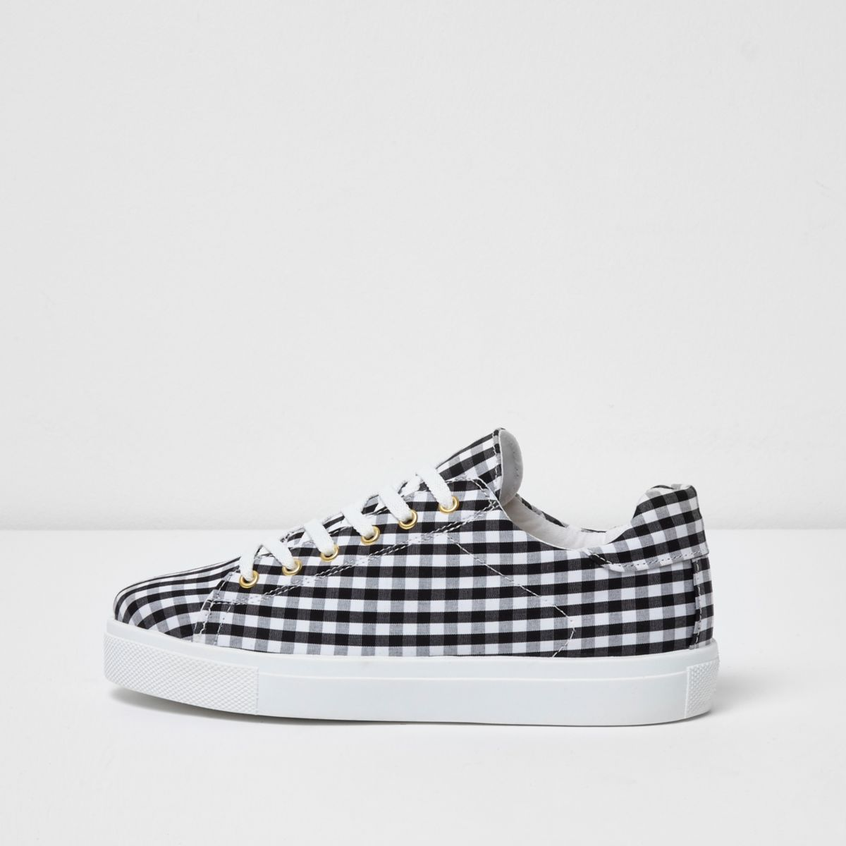 Black gingham print trainers