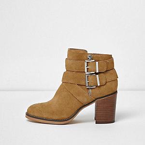 Tan suede triple buckle block heel boots