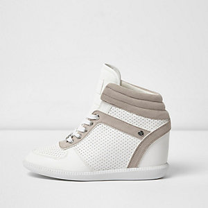 White wedged hi top trainers