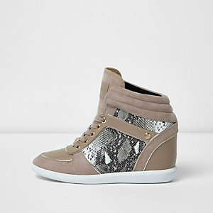 Beige croc embossed wedged hi top trainers