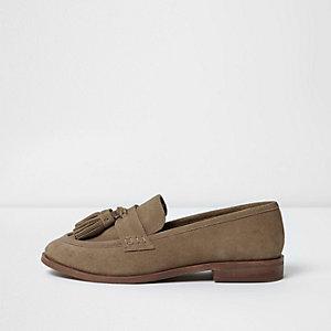 Hellbraune Loafer, weite Passform
