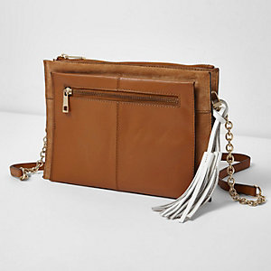 Tan chain handle leather and suede bag