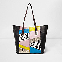 Black zebra print leather winged tote bag