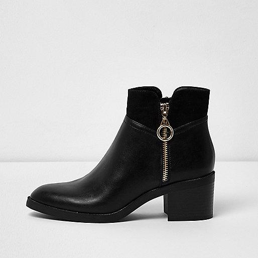 Black double zip block heel ankle boots