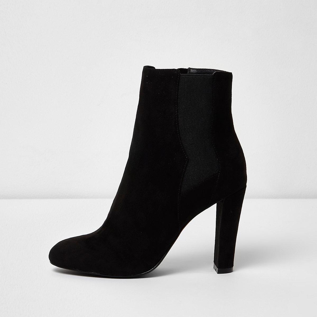 Zwarte Chelsea laarzen met hoge hakken