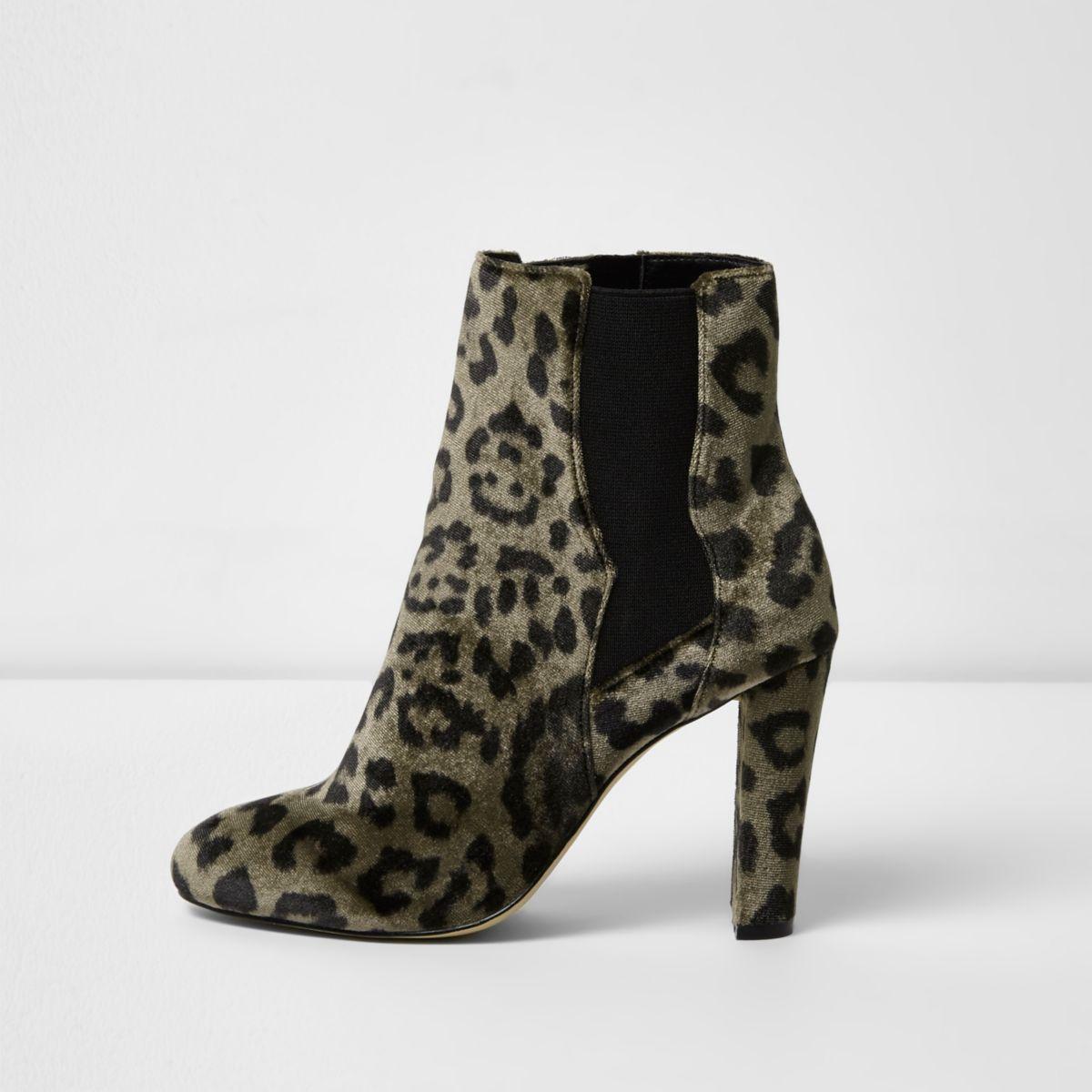 Khaki green leopard print chelsea boots