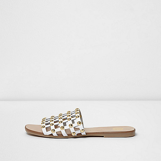 White studded leather sliders