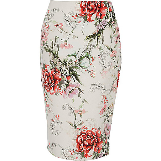 Cream floral print pencil midi skirt