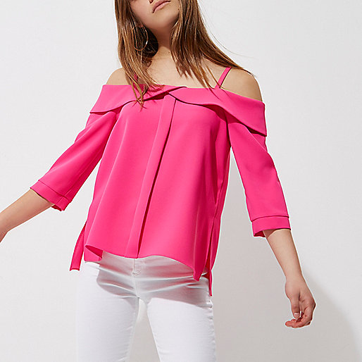 Petite pink cold shoulder frill top