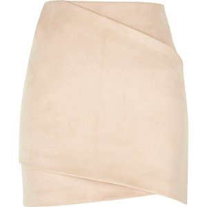 Light pink faux suede wrap mini skirt