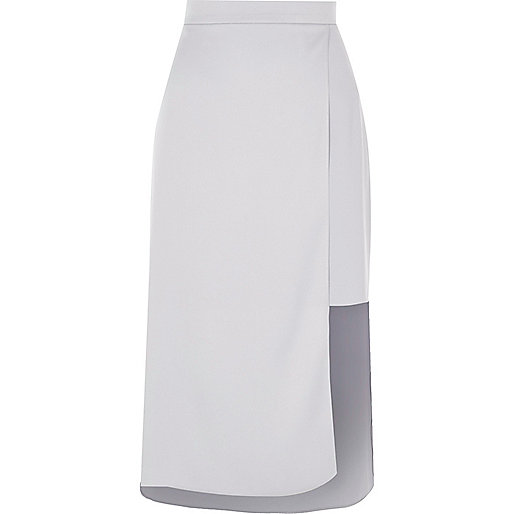 Light blue asymmetric hem midi skirt
